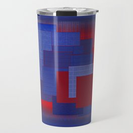 Blue Color Geometry Travel Mug