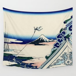 "Hokusai (1760-1849) ""Asakusa Hongan-ji temple in the Eastern capital [Edo]"" Wall Tapestry"