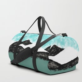Artistic teal black white olive green watercolor mountain Duffle Bag