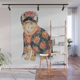 Frida Kahlo cat with flower wreath Painting Wall Poster Watercolor Art Colorful Decor Print Pet Drawing portrait gig funny room nursery Wall Mural