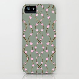 Delicate little pink flowers on the branches against the background of the color of the sea wave iPhone Case