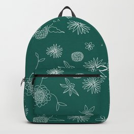 Garden Pattern on White Backpack