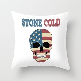 """A Nice Icy Tee For Cold Persons Saying """"Stone Cold"""" T-shirt Design American Flag Skull America Stars Throw Pillow"""
