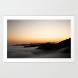 Mountain Sunset with Clouds Art Print