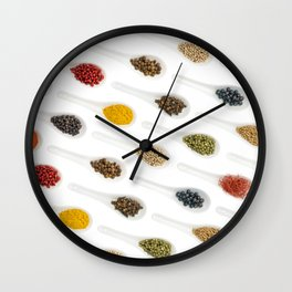 Spice Spoons on white Wall Clock