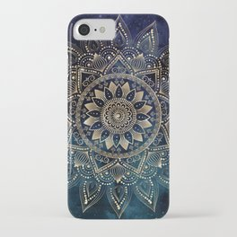Elegant Gold Mandala Blue Galaxy Design iPhone Case