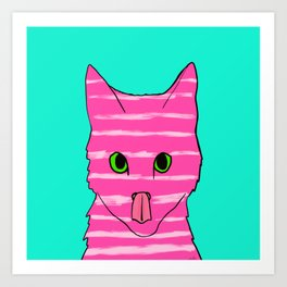 Neon Pink Striped Kitten Licking Her Nose With Aqua Background Art Print