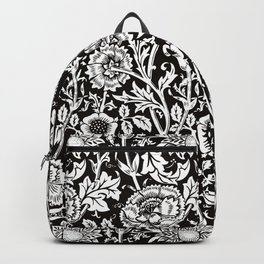 "William Morris Floral Pattern | ""Pink and Rose"" in Black and White Backpack"