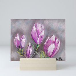 Purple bud flowers drawing by pastel Mini Art Print
