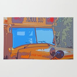 School Bus Art Rug