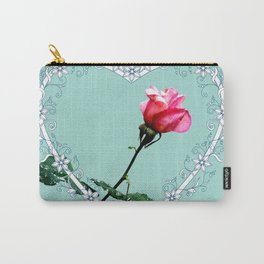 Heart with pink rose Carry-All Pouch