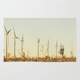 desert with wind turbine in summer Rug