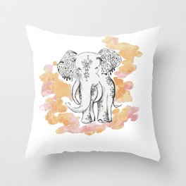 Elephant Travels- Frolics to family Throw Pillow