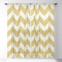 Yellow Mustard Chevron Sheer Curtain
