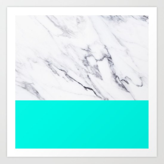 Marble Blue Luxury iPhone Case and Throw Pillow Design Art Print