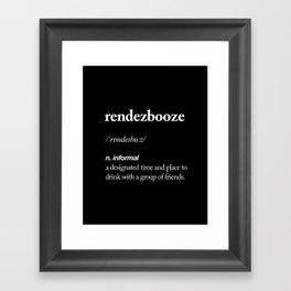 Rendezbooze black and white contemporary minimalism typography design home wall decor black-white Framed Art Print