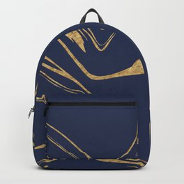 Blue And Gold Liquid Paint Backpack