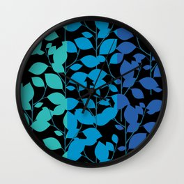Cobalt Foliage Wall Clock