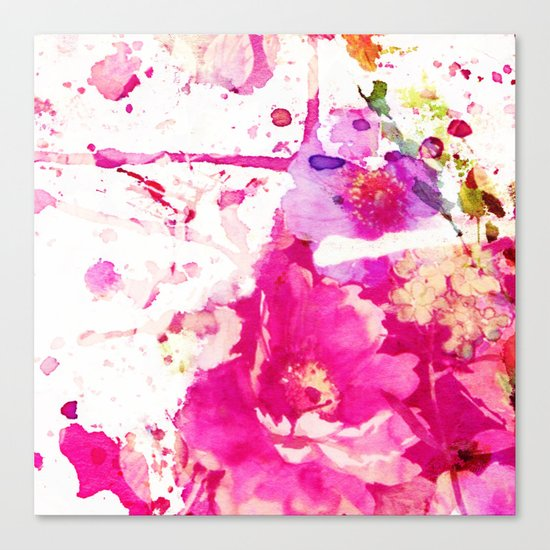 flower and splash in pink Canvas Print