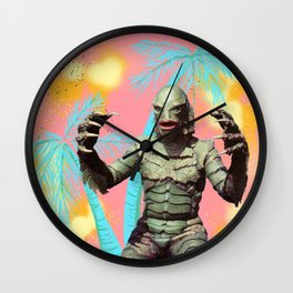 Creature of the pastel lagoon Wall Clock