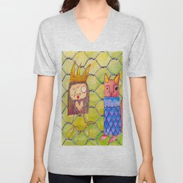 Fox and Chicken in the Coop Unisex V-Neck