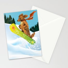 Golden Retriever on a Snow Board Stationery Cards