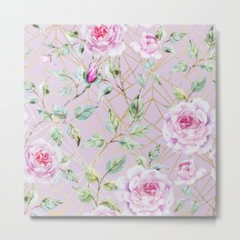 Roses with gold geometric pattern Metal Print