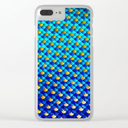Ocean Blue Mermaid Scales -Beautiful Abstract Glitter Pattern Clear iPhone Case