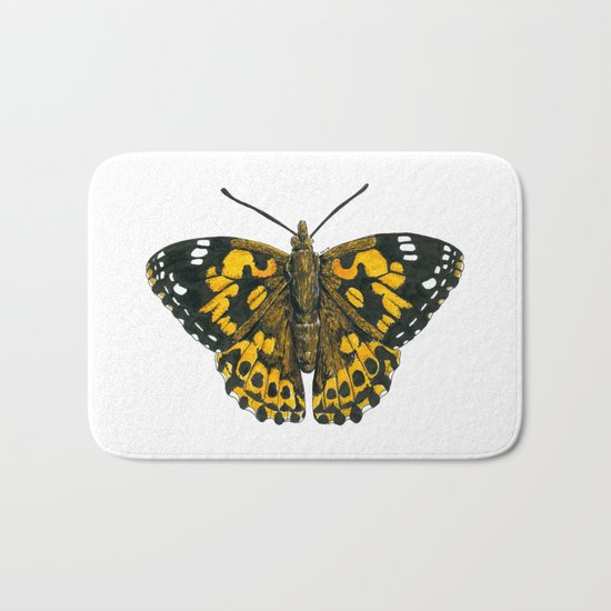 Painted lady butterfly Bath Mat
