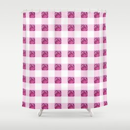Pink Rose Check Shower Curtain