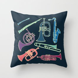 Wind instruments Throw Pillow