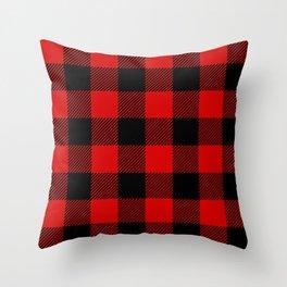 Red Lumberjack Pattern Throw Pillow