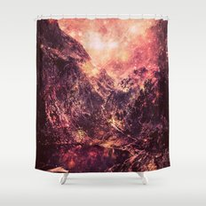 Galaxy Mountains : Mauve Burgundy Shower Curtain