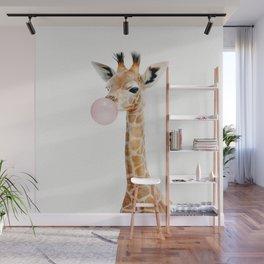 Bubble Gum Baby Giraffe Wall Mural