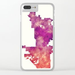 Phoenix city watercolor map in front of a white background Clear iPhone Case