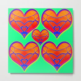 Heartery in Light Green Metal Print