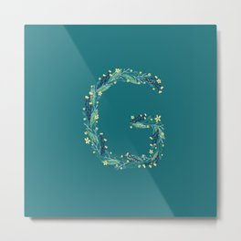 Turquoise flowers alphabet G Metal Print