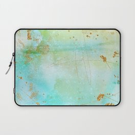 Aqua and Yellow Watercolor Wash With Faux Gold Glitter Laptop Sleeve