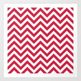 Crimson Red Chevrons Pattern Art Print