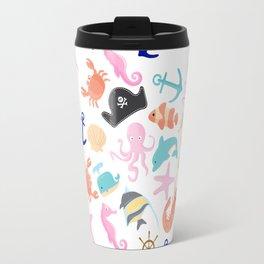 Cute trendy pink teal colorful marine nautical pattern Travel Mug