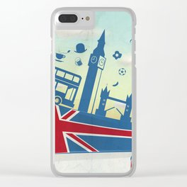 UK LONDON  element on flag with sky background Clear iPhone Case
