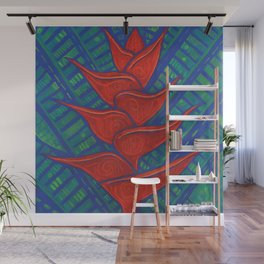 Heliconia, Red Green Blue Wall Mural