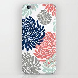 Floral, Chrysanthemums, Coral, Pink, Aqua, Navy, Blue iPhone Skin