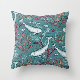 Narwhal Toile - teal blue Throw Pillow