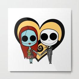Jack and Sally love Metal Print
