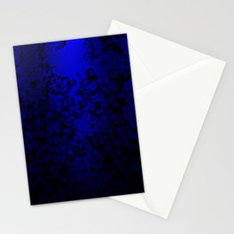 Vibrant blue abstract floral fantasy on black Stationery Cards