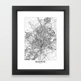 Madrid White Map Framed Art Print