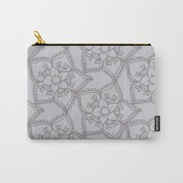 Silver gray lacey floral 2 Carry-All Pouch
