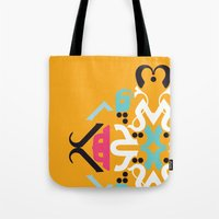 arabic Tote Bags featuring Orange Arabic by Farah Saheb