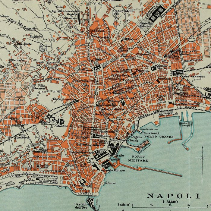 Vintage Map of Naples Italy (1911) Comforters